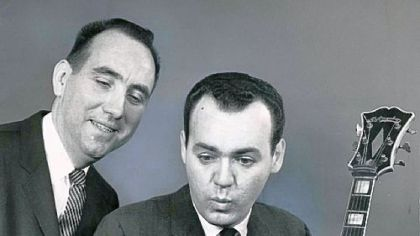 Robert McCully and Joe Negri in 1966 preparing for the United Fund of Allegheny County's annual television special in October of that year.