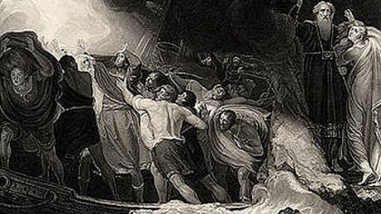"The shipwreck in Act I of ""The Tempest"" in a 1797 engraving based on a painting by George Romney."