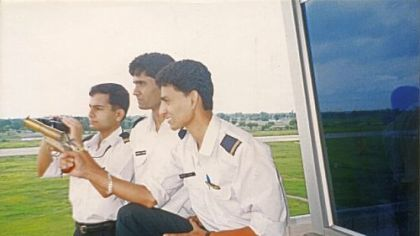 Bobby Quamar (far left) with Air India colleagues before his 1996 accident.