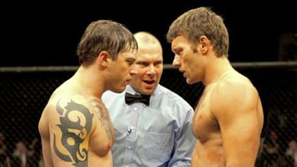 "Tom Hardy, left, and Joel Edgerton star as brothers Tommy and Brendan in ""Warrior."""