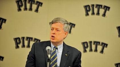 University of Pittsburgh Chancellor Mark Nordenberg speaks during the  press conference about the school's decision to move to the ACC (Atlantic Coast Conference).