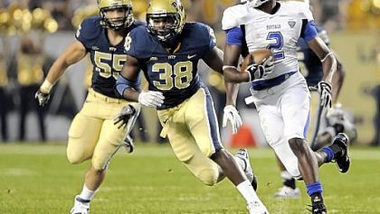 "Pitt's Greg Williams (38) described the sensation of being named a starting linebacker for the season opener as ""cool."""