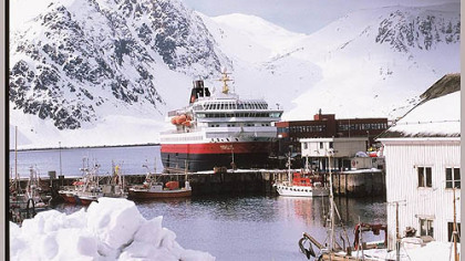 MV Nordlys sits at one of the 34 ports of call along Norway coast.