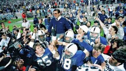 Penn State coach Joe Paterno is carried on the shoulder of his Nittany Lions players after they beat Miami, 14-10, in the Fiesta Bowl in Tempe, Ariz., Friday, Jan. 2, 1987.