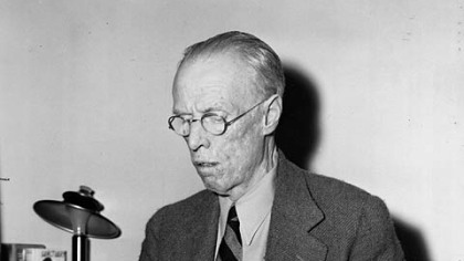 Sinclair Lewis, author, Pulitzer and Nobel Prize winner, is shown at his typewriter working on his first movie script in Hollywood, Calif., Sept. 3, 1943.