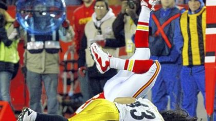 Troy Polamalu made the tackle on Kansas City's  Steve Maneri on the Chiefs' first series of the game, then left with an apparent head injury.
