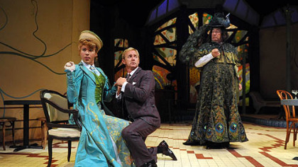 "Pittsburgh Irish & Classical Theatre's ""The Importance of Being Earnest,"" ending Aug. 27, features and all-gentleman cast including, from left, Will Reynolds as Gwendolen, David Whalan as Jack and Alan Stanford as Lady Bracknell (and Oscar Wilde). At the Stephen Foster Memorial in Oakland; more at pict.org."
