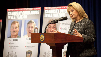 Pennsylvania Attorney General Linda Kelly on Monday discusses the details surrounding the case of Penn State former defensive coordinator Jerry Sandusky and allegations against him of sex abuse crimes involving young boys.
