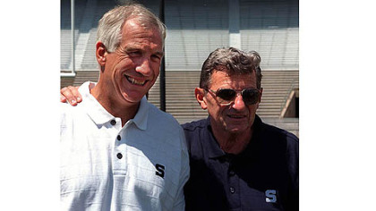 Penn State coach Joe Paterno, shown in 1999 with then-assistant coach Jerry Sandusky, left.