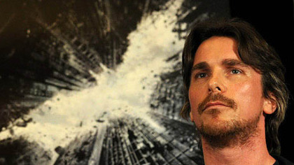 "Actor Christian Bale at a press conference about the film ""The Dark Knight Rises"" at the Renaissance Hotel in Pittsburgh in 2011."
