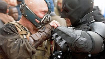 "As Bane, Tom Hardy goes head to head with Christian Bale's Batman in ""The Dark Knight Rises."" Filmmakers staged a battle for the movie in Oakland last summer."